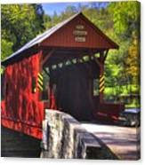 Pa Country Roads - Ebenezer Covered Bridge Over Mingo Creek No. 2a - Autumn Washington County Canvas Print