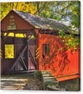 Pa Country Roads - Henry Covered Bridge Over Mingo Creek No. 3a - Autumn Washington County Canvas Print