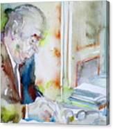 Pablo Neruda - Watercolor Portrait.8 Canvas Print