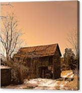 Packing Barn In Winter Canvas Print