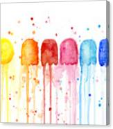Pacman Watercolor Rainbow Canvas Print