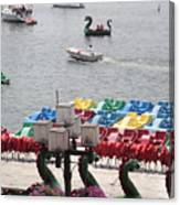 Paddleboats Waiting In The Inner Harbor At Baltimore Canvas Print