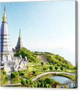 Pagoda On Doi Inthanon, Chiang Mai, Thailand.  Canvas Print