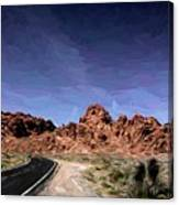 Paint Mixed Valley Of Fire Landscape  Canvas Print