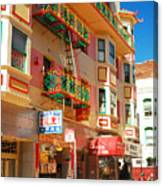 Painted Balconies In San Francisco Chinatown Canvas Print