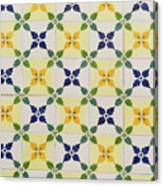 Painted Patterns - Floral Azulejo Tiles In Blue Green And Yellow Canvas Print