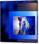 Painted Pony In Blue Canvas Print