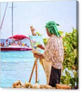 Painter At Work, Holetown Beach, Barbados Canvas Print