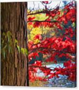 Painterly Rendition Of Red Leaves And Tree Trunk In Autumn Canvas Print