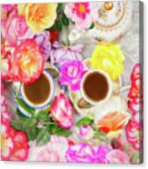 Painterly Tea Party With Fresh Garden Roses II Canvas Print