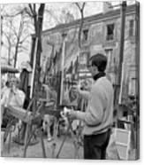 Painters In Montmartre, Paris, 1977 Canvas Print