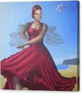 Painting Artwork Flamenco Dancing In Seville Beach  Canvas Print