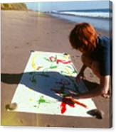 Painting In Sand Canvas Print