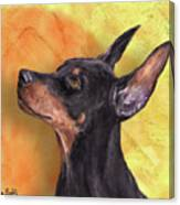 Painting Of A Cute Doberman Pinscher On Orange Background Canvas Print