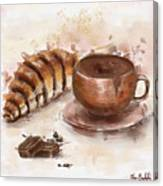 Painting Of Chocolate Delights, Pastry And Hot Cocoa Canvas Print