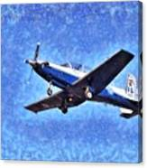Painting Of Daedalus Demo Team Of Hellenic Air Force Flying A T-6a Texan II Canvas Print