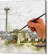 Painting Seattle Canvas Print