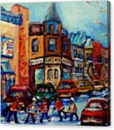 Paintings Of Montreal Hockey On Fairmount Street Canvas Print