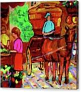 Paintings Of Montreal Streets Old Montreal With Flower Cart And Caleche By Artist Carole Spandau Canvas Print