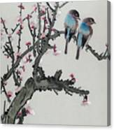 Pair Of Birds On A Cherry Branch Canvas Print