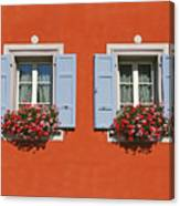 Pair Of Blue Shutters Canvas Print