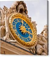 Palace Of Versaille Exterior Clock Canvas Print