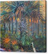 Palm And Egret Canvas Print