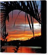Palm Framed Sunset Canvas Print