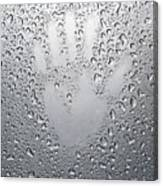 Palm Print On Wet Metal Surface Canvas Print