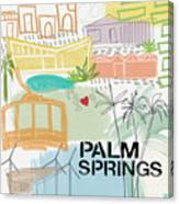Palm Springs Cityscape- Art By Linda Woods Canvas Print