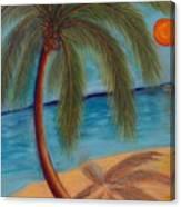 Palm Tree On The Beach Canvas Print