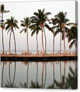Palm Trees And Beach Chairs Canvas Print