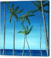 Palm Trees On Blue Canvas Print