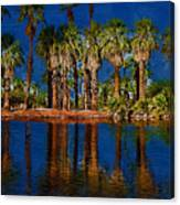 Palm Trees On The Water Canvas Print
