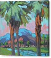 Palms And Coral Mountain Canvas Print