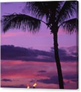 Palms And Tiki Torches Canvas Print