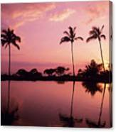 Palms At Still Lagoon Canvas Print