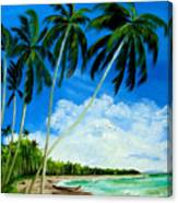 Palms By The Ocean Canvas Print