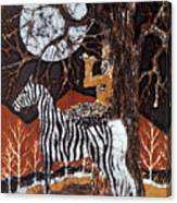 Pan Calls The Moon From Zebra Canvas Print