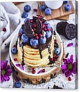 Pancakes With Chocolate Sauce Canvas Print