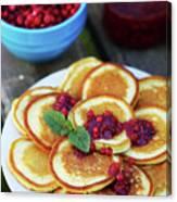 Pancakes With Cranberry Jam Canvas Print