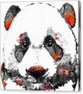 Panda Bear Art - Black White Red - By Sharon Cummings Canvas Print