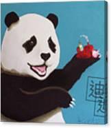 Panda Joy Blue Canvas Print