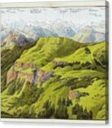 Panorama Drawn From The Rigi Mountain Canvas Print