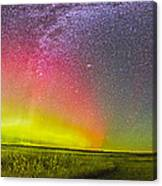 Panorama Of An Aurora And The Milky Way Canvas Print