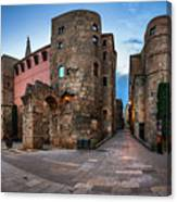 Panorama Of Ancient Roman Gate And Placa Nova In The Morning, Ba Canvas Print