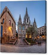 Panorama Of Cathedral Of The Holy Cross And Saint Eulalia In The Canvas Print