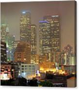 Panorama Of Downtown Los Angeles In The Fog Canvas Print