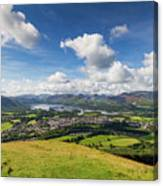 Panorama Of Keswick And Lake Derwent Water Panorama From Latrigg Canvas Print