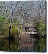 Panorama Of Lake, Trees And Cabin Canvas Print